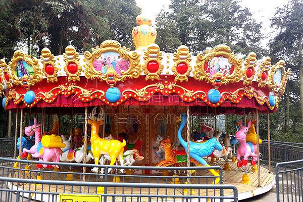 24 seats zoo fiberglass carousel horse for sale