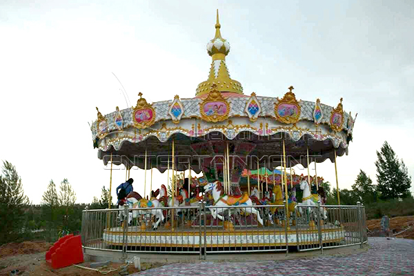Amusement park carousel kiddie rides