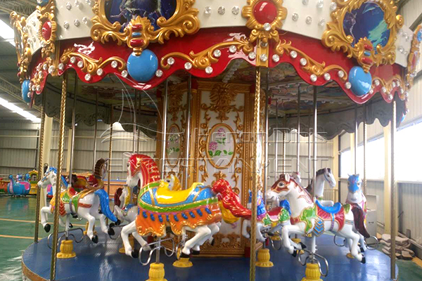 Dinis hot selling and cheap standing fiberglass carousel horse