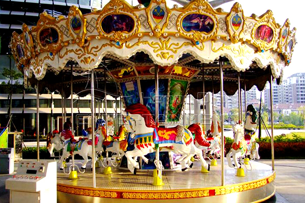 Life size antique playground merry go round