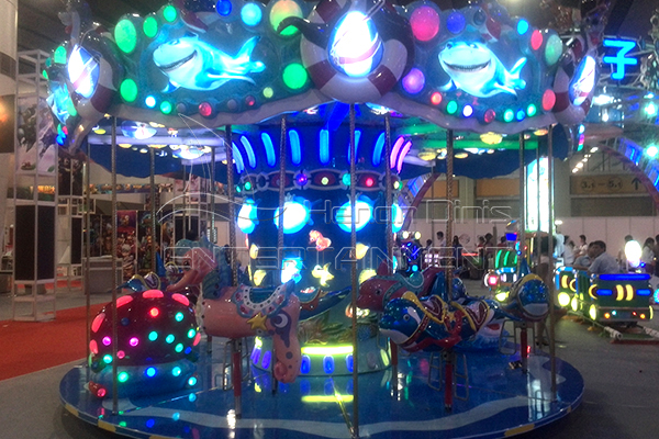 coin- operated ocean fiberglass manufactured carousel for sale